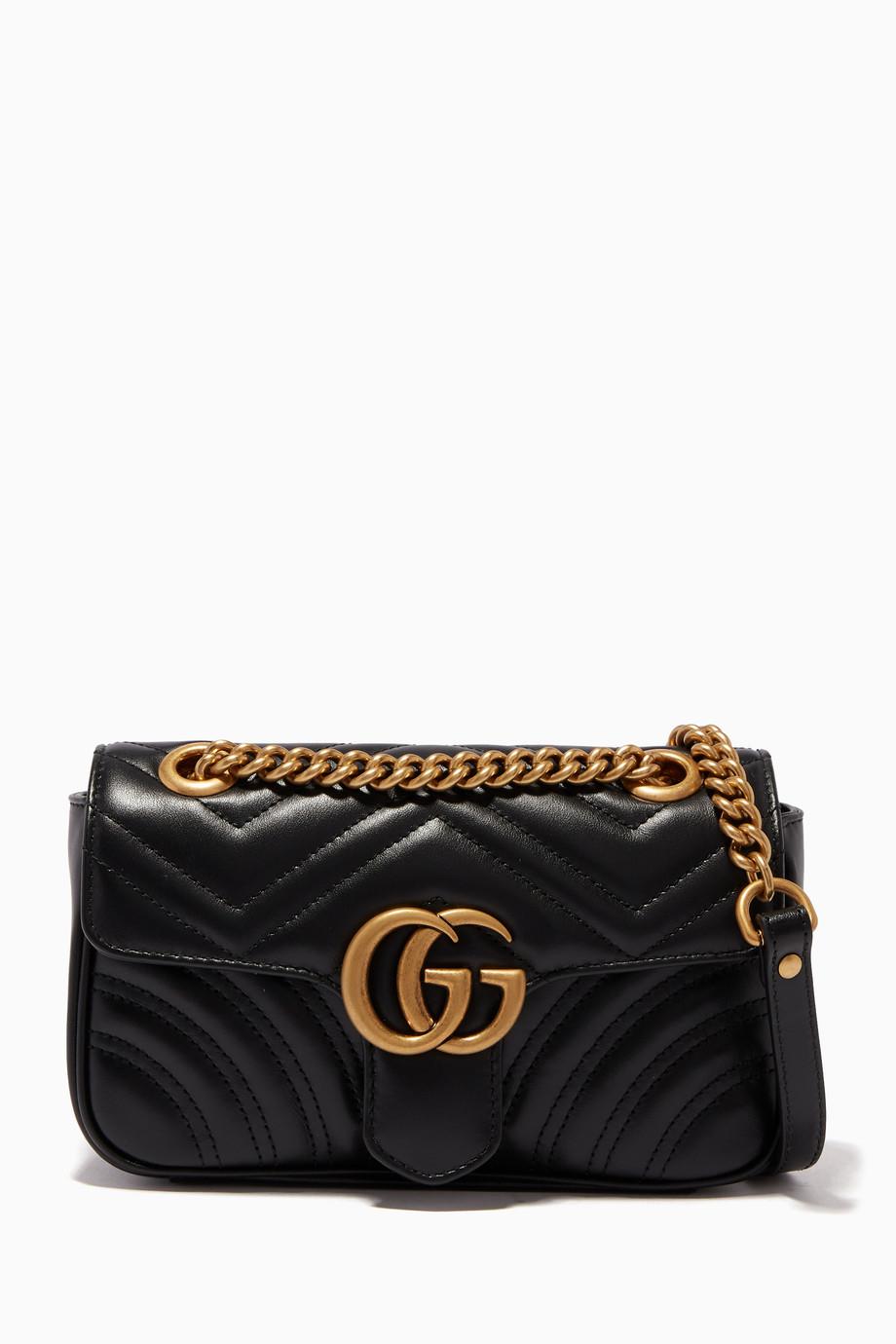 17c6f539e50 Shop Gucci Black Gucci Black Mini GG Marmont 2.0 Matelassé Shoulder ...