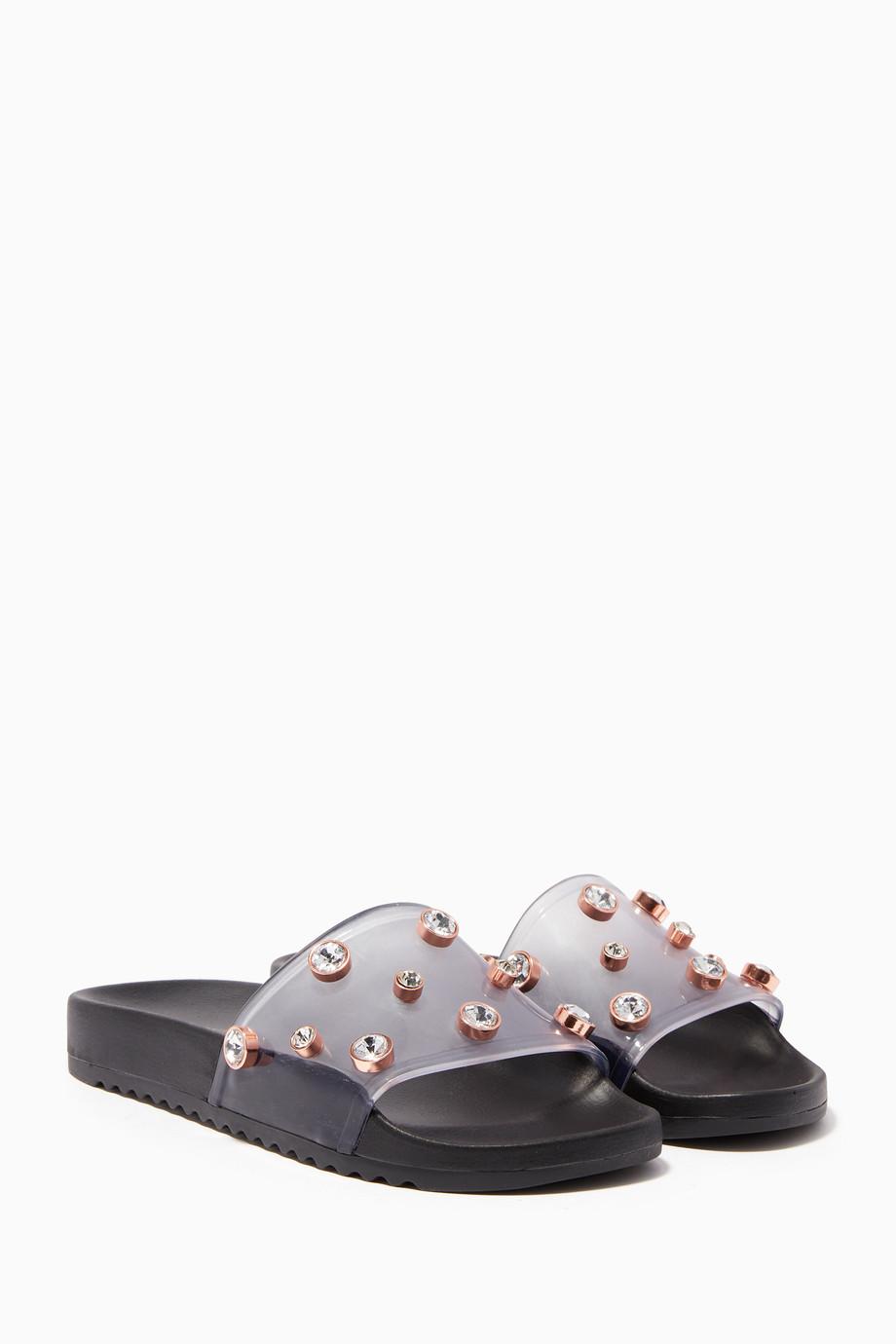 b70dd171e Shop Sophia Webster Black Black Dina Embellished Slides for Women ...