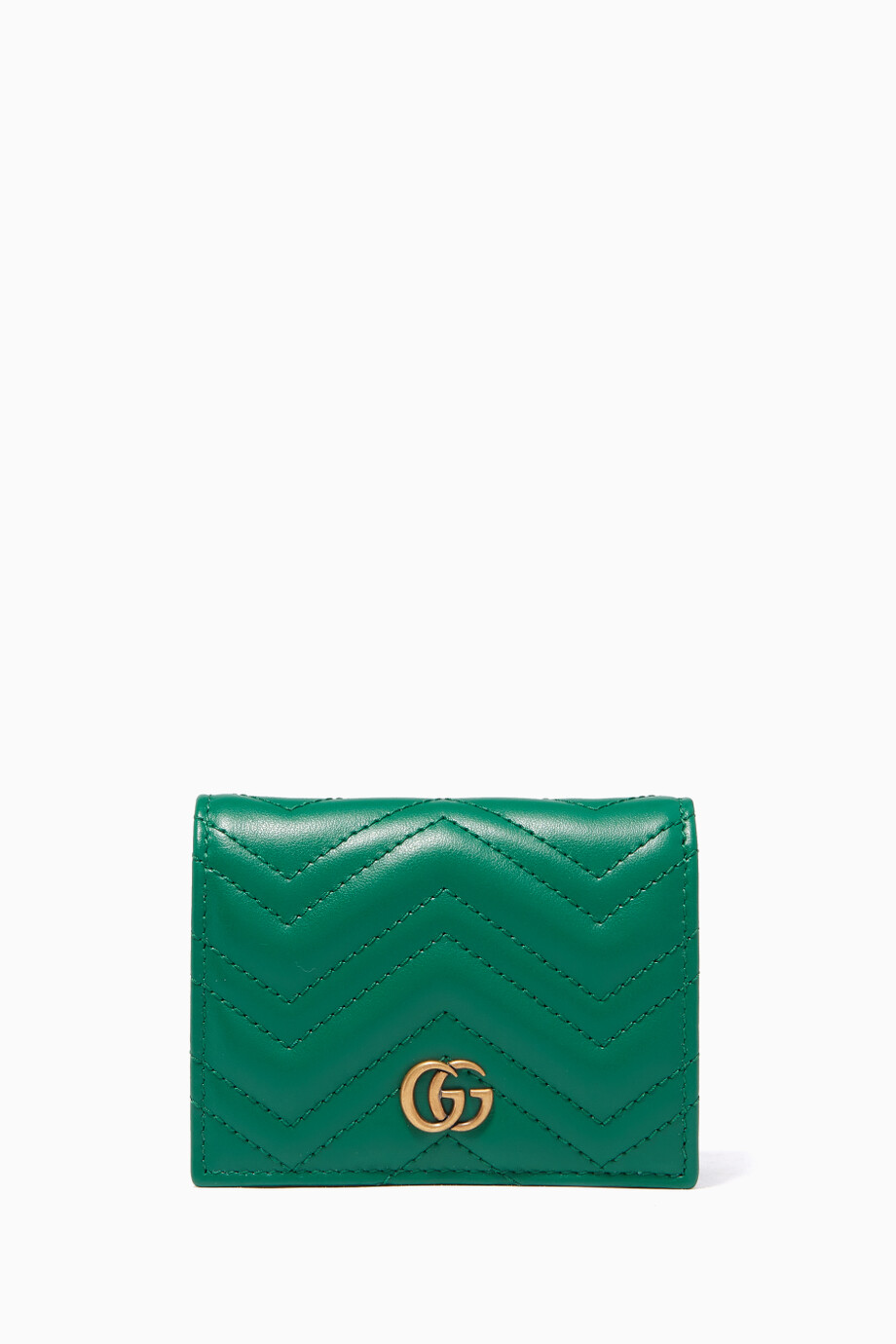 8d7ed26cd42 Shop Gucci Green Green GG Marmont Matelassé Wallet for Women ...