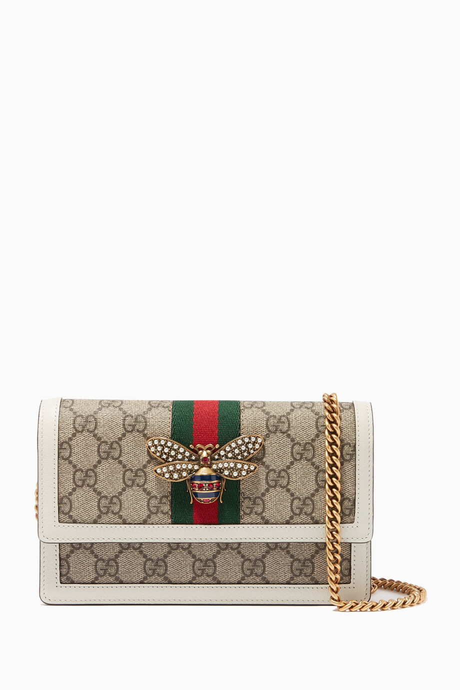 5ce815e8b17fa5 Shop Gucci White GG Canvas Queen Margaret Chain Wallet for Women ...