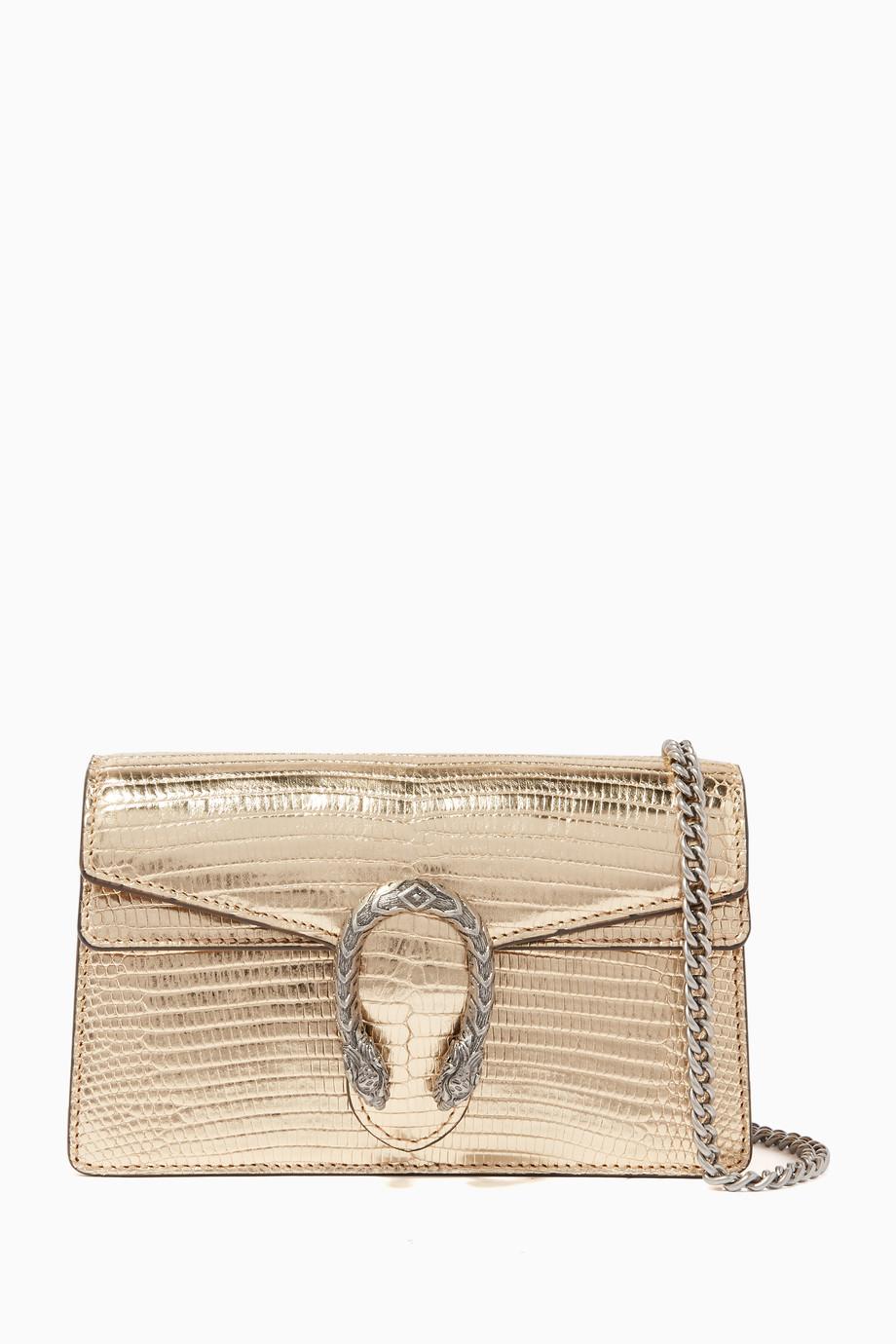 a4387de51 Shop Gucci Gold Gold Dionysus Lizard Super Mini Bag for Women | Ounass