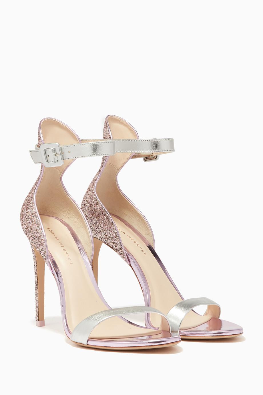 90767294afc 🔥Shop Sophia Webster Pink Pink Glitter-Embellished Nicole Sandals ...