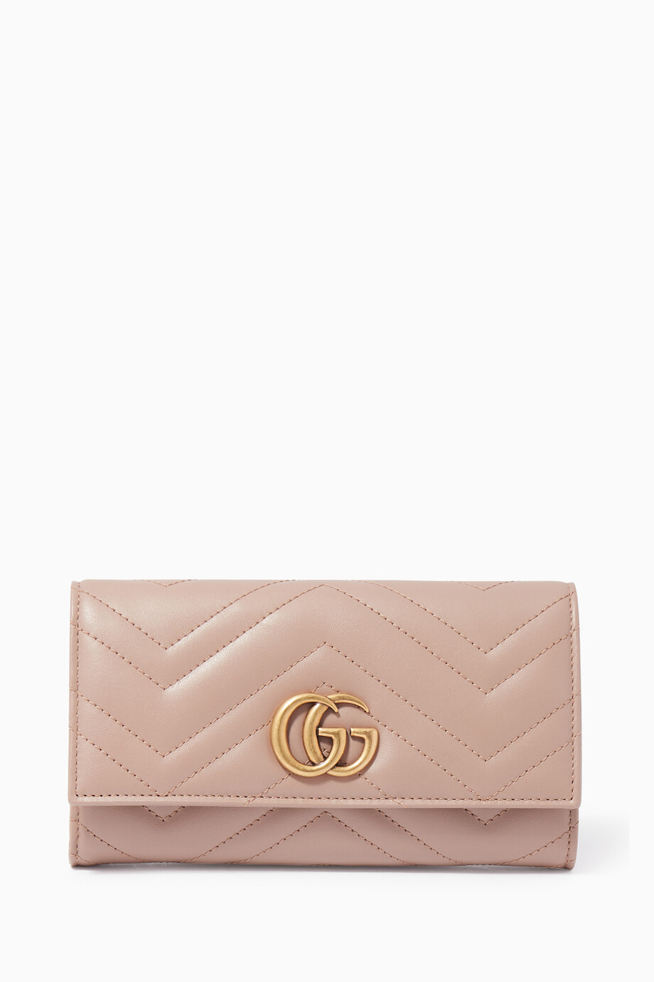 63cd39a6df24eb Shop Gucci Neutral Light-Pink GG Marmont Continental Wallet for ...