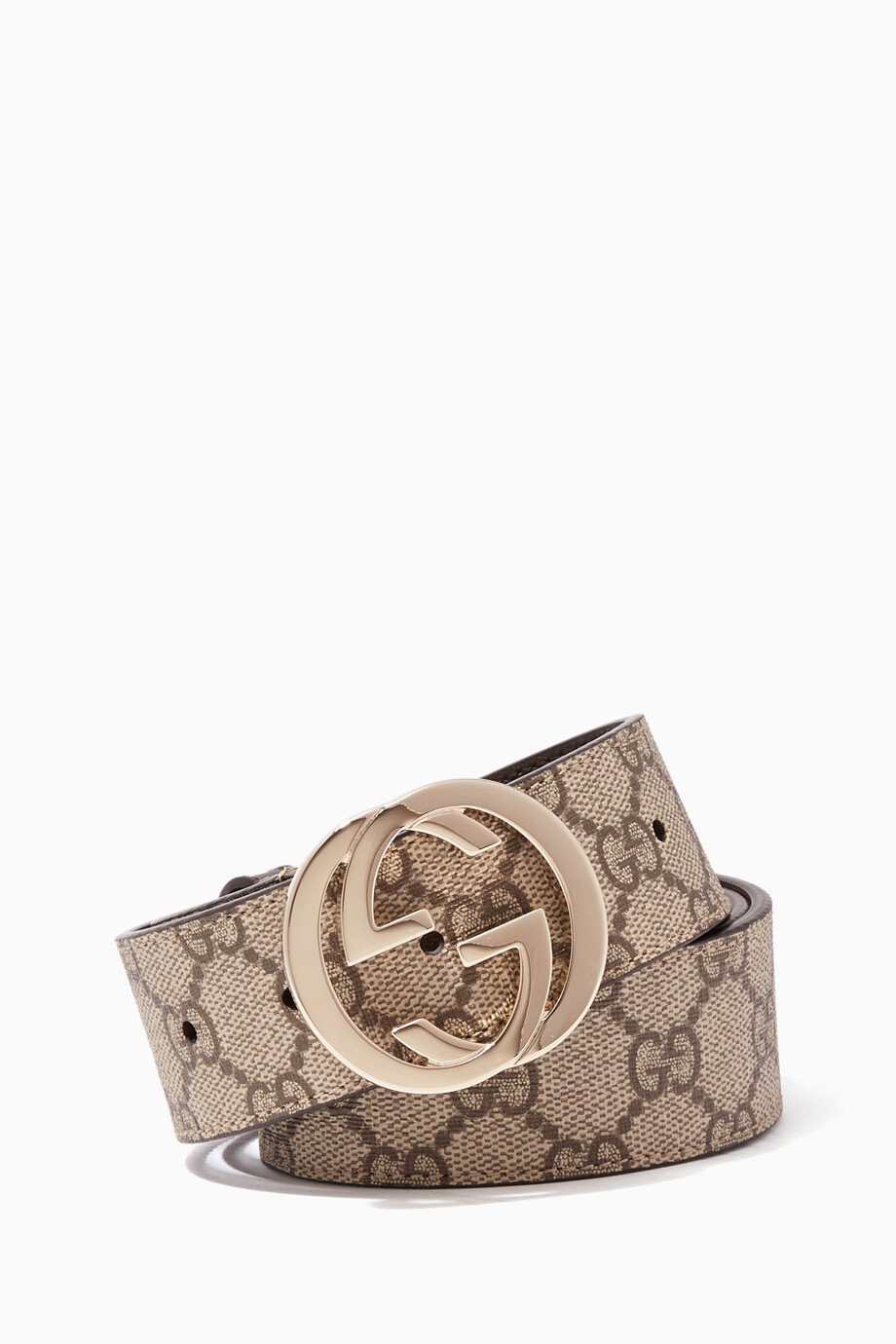 a13149ebaef Shop Gucci Neutral Beige   Ebony GG Supreme Belt for Women