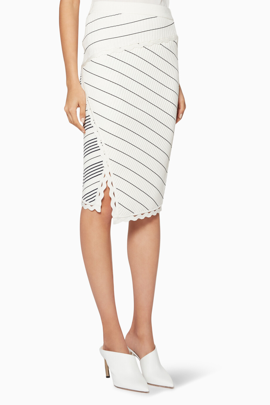b958627eb3 Shop Jonathan Simkhai White White & Black Zig-Zag Pencil Skirt for ...