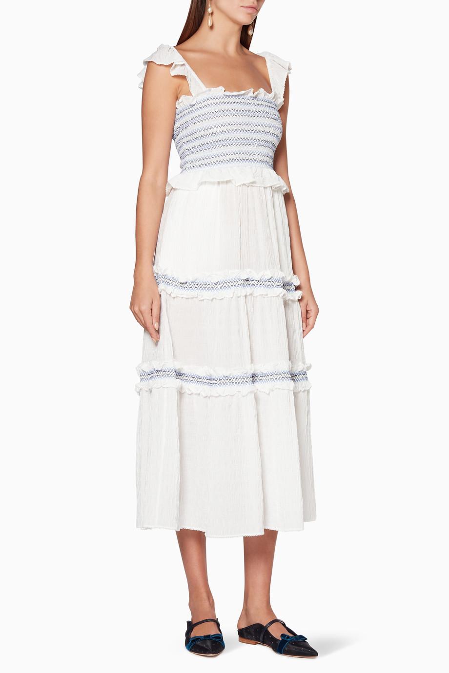 684c36d59c Shop Jonathan Simkhai White White Smocked Tier Dress for Women ...
