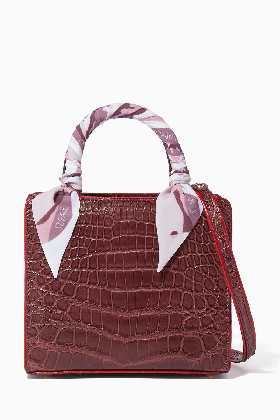 0233ed268 للنساءالحقائبحقائب صغيرة. حقيبة يد ماي سويت بوكس صغيرة جلد تمساح أحمر داكن  ...