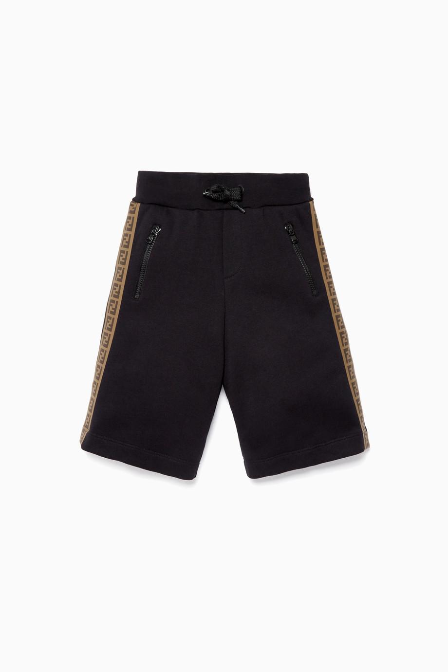 4a91550f4 Shop Fendi Black Black Logo-Tape Drawstring Shorts for Kids
