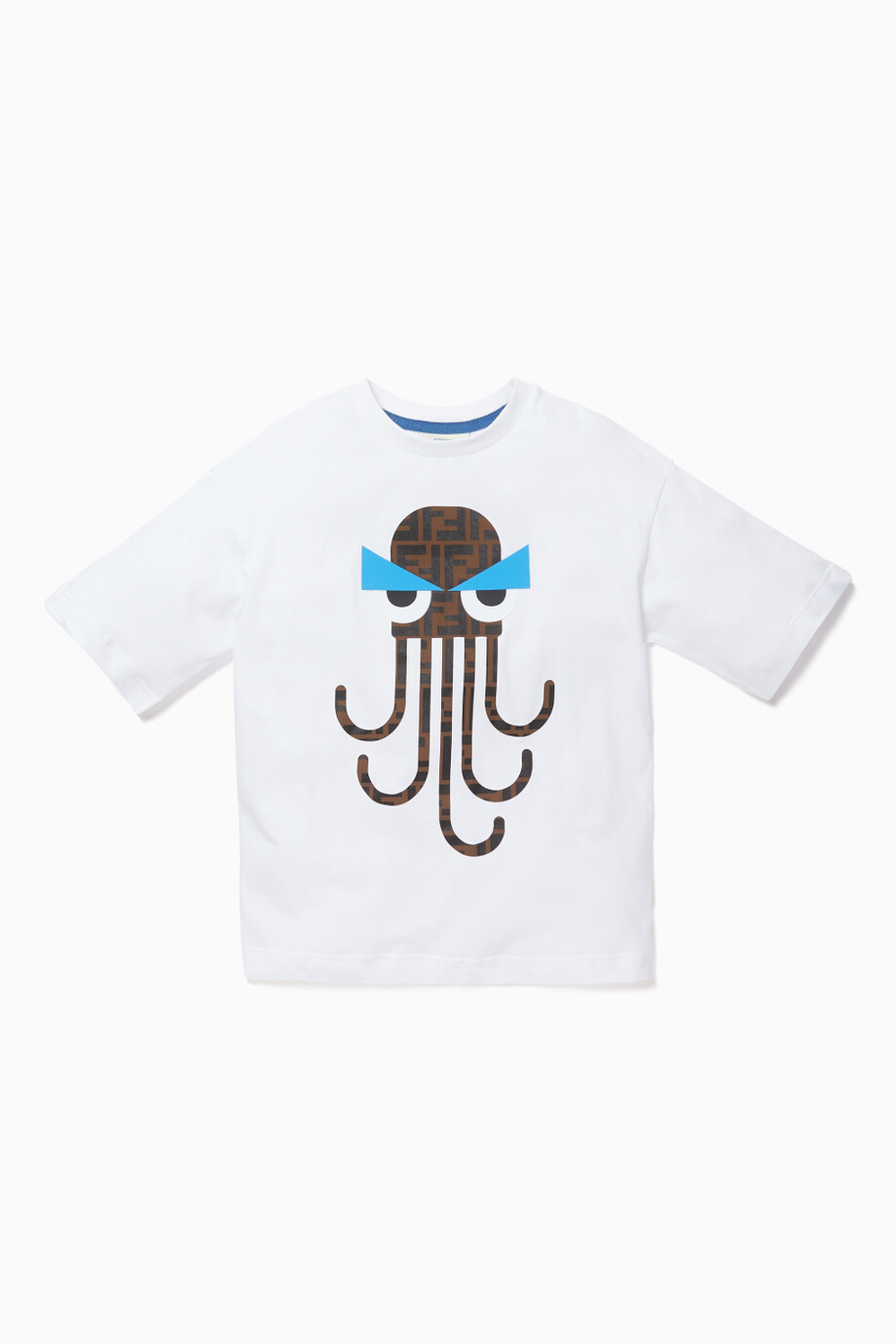 844104a12 Shop Fendi White Octopus T-Shirt for Kids   Ounass