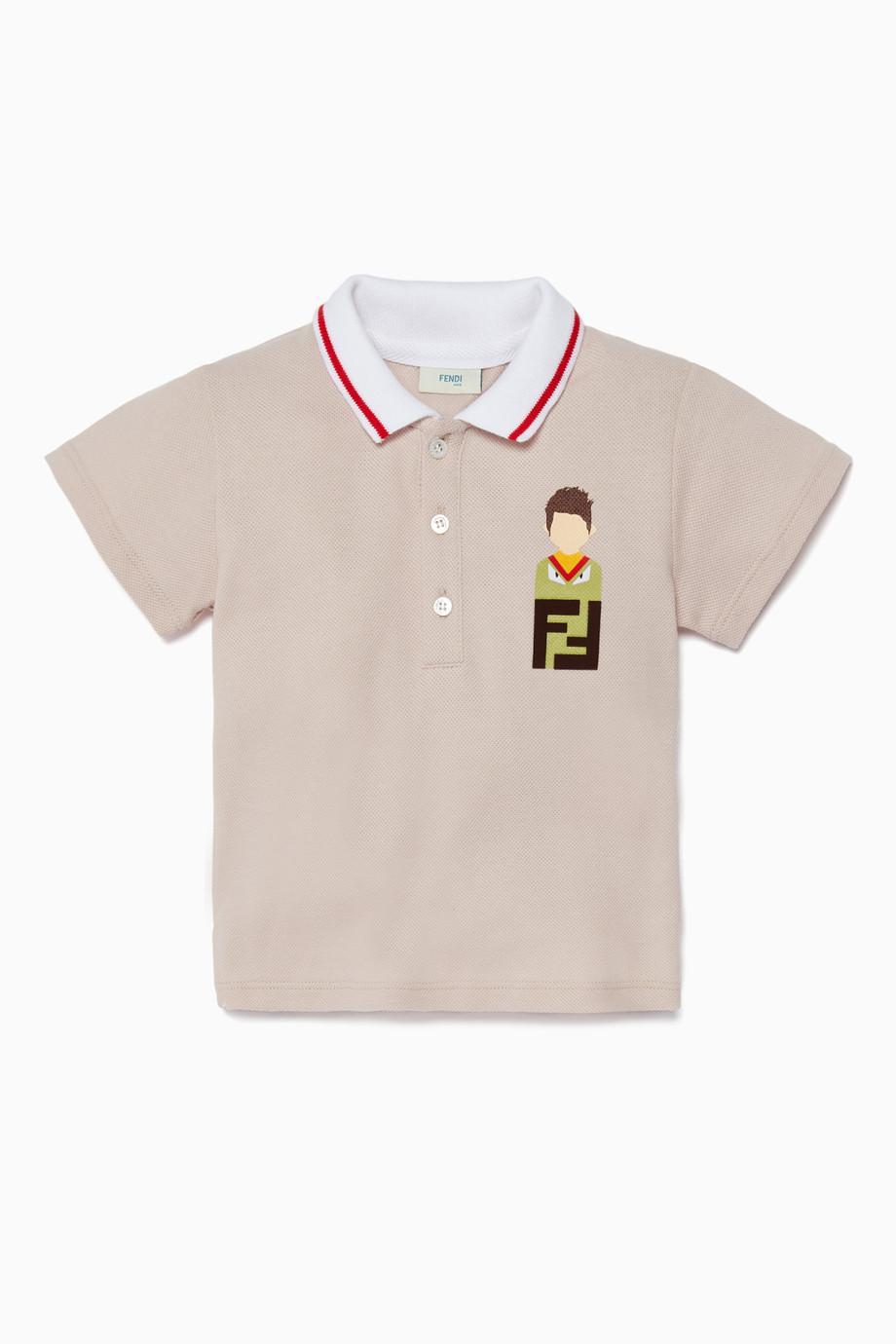 c6e59714a0db2 تسوق تي شيرت بولو بطبعة بيج Fendi لون طبيعى للأطفال
