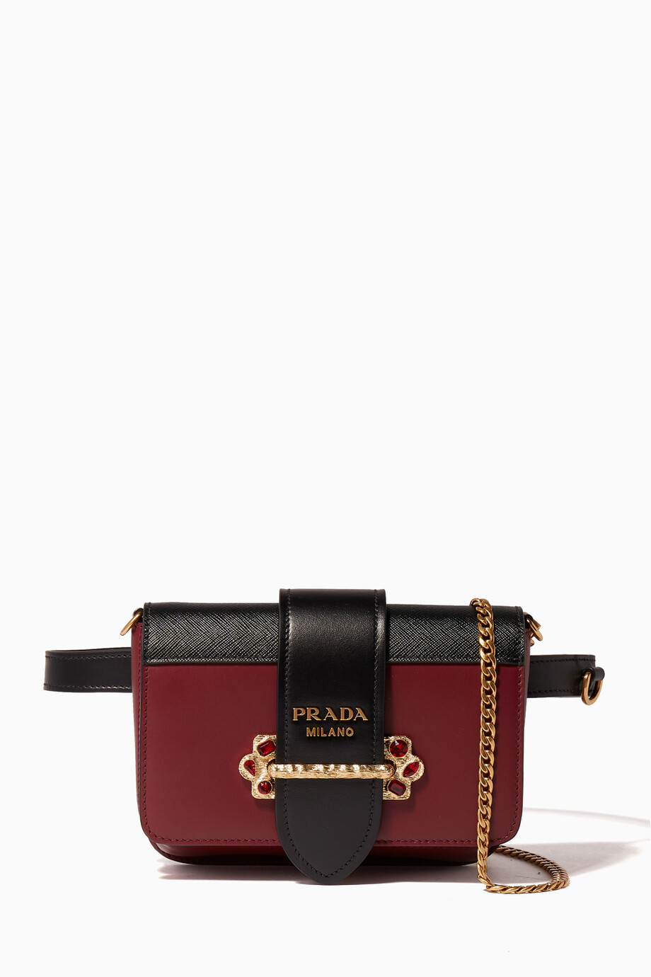 4fb2eccf2dde Shop Prada Red Garnet Red & Black Cahier Belt Bag for Women | Ounass ...