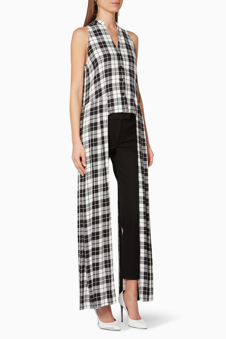 284ac9f2621d2 تسوق فستان بنمط قميص بنقشة مربعات بدون أكمام أبيض وأسود HELLESSY ...