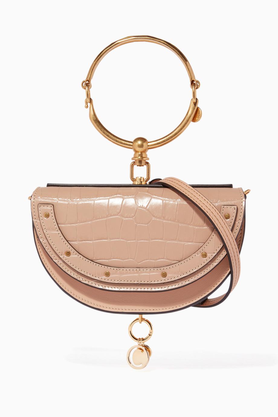 bd94f1d30560e تسوق حقيبة نايل مينوديري بنقشة جلد التمساح كلوي لون طبيعى للنساء