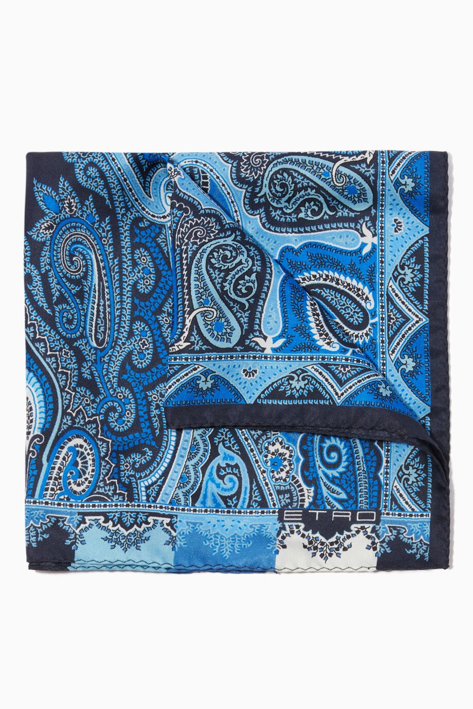 a8430d157cf1 Shop Etro Blue Blue Paisley-Print Pocket Square for Men | Ounass