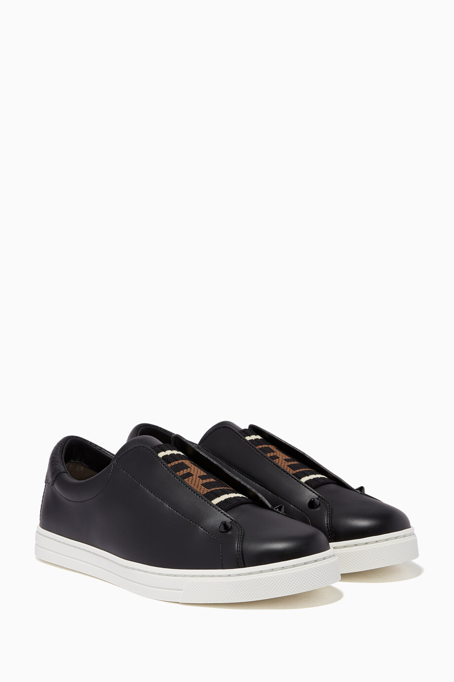 1ac4a4d368 Shop Fendi Black Black Leather Slip-on Sneakers for Women | Ounass UAE