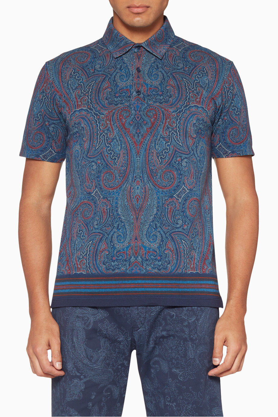 5e9ac21abc110 Shop Etro Blue Navy Paisley Print Polo Shirt for Men | Ounass Saudi