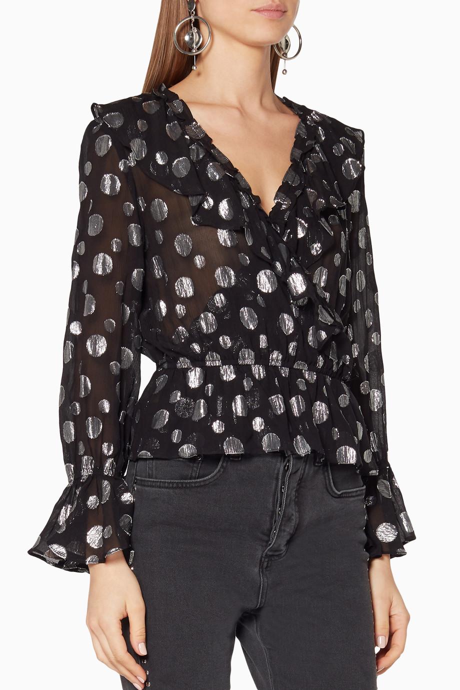 fd70a673104aad Shop RIXO Black Black Lamé Spot Roisin Top for Women | Ounass UAE