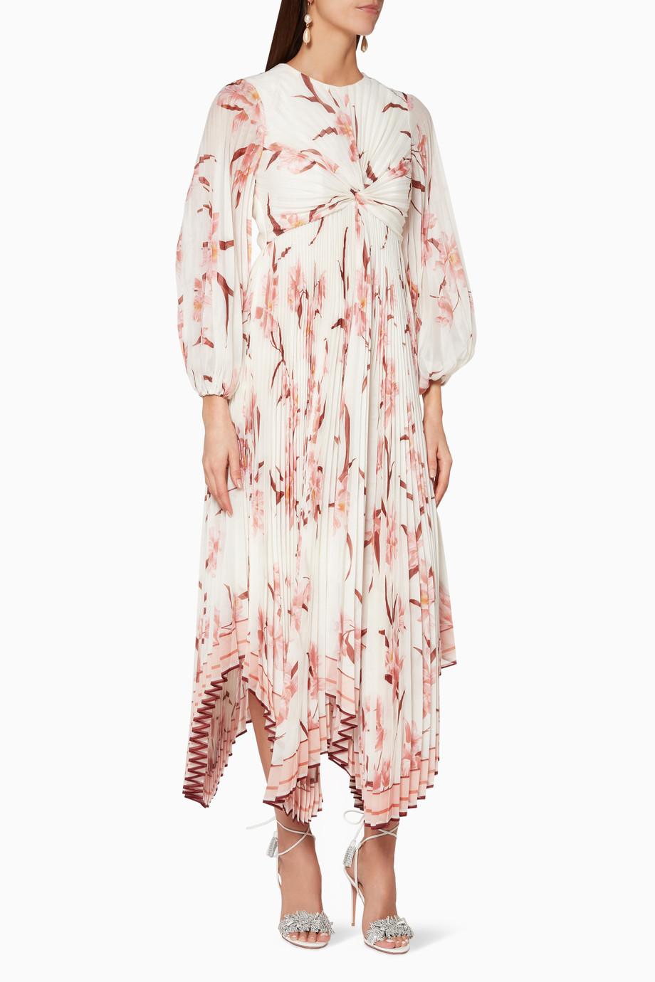 e76b5129a048 Shop Zimmermann Neutral Ivory Floral-Print Corsage Pleated Dress ...