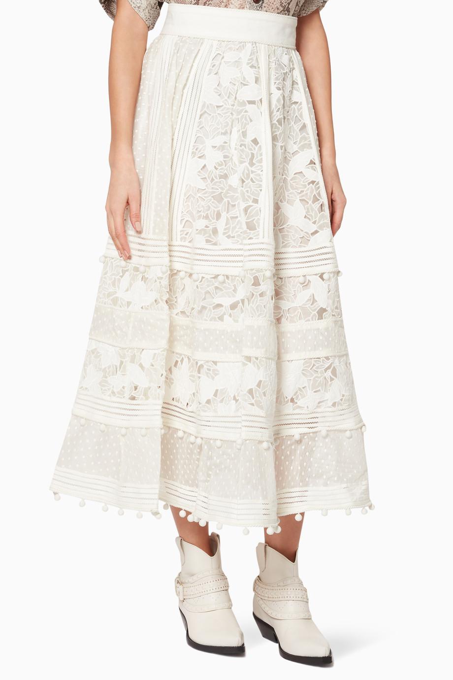 e2d87ce1fb66 Shop Zimmermann Neutral Ivory Corsage Embellished Skirt for Women ...