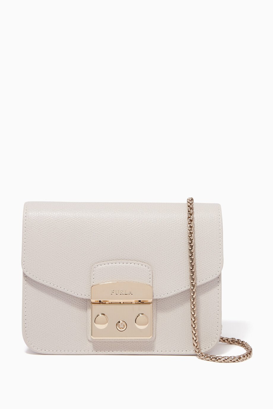 5a30633e2 Shop Furla White Perla-White Metropolis Mini Cross-Body Bag for ...
