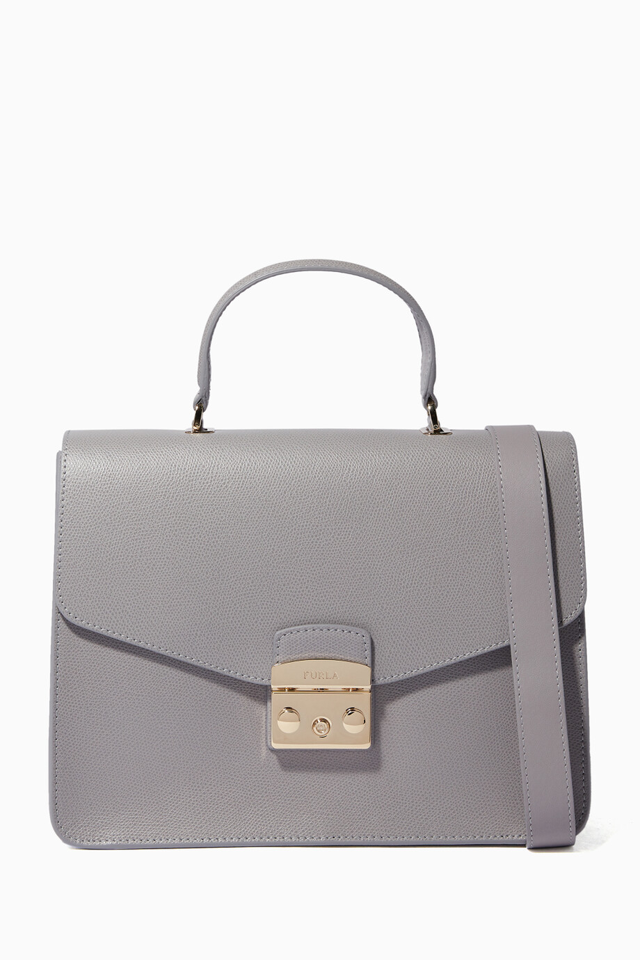 0aa4e6b7d Shop Furla Grey Onice Metropolis Top Handle Bag for Women | Ounass