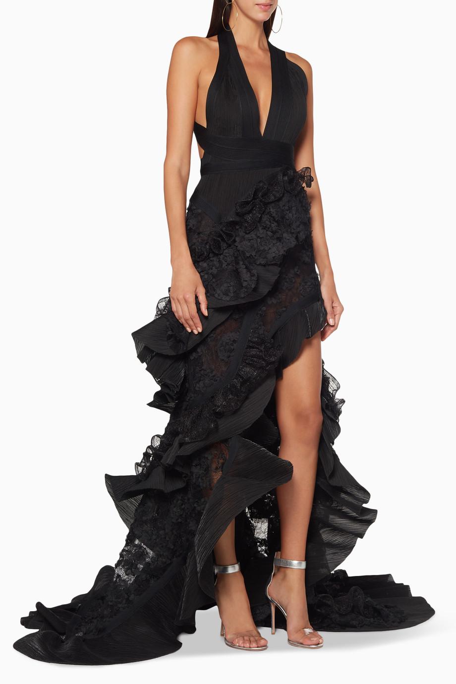7f1866423045a تسوق فستان سهرة مانتيلا دانتيل أسود Matičevski أسود لل
