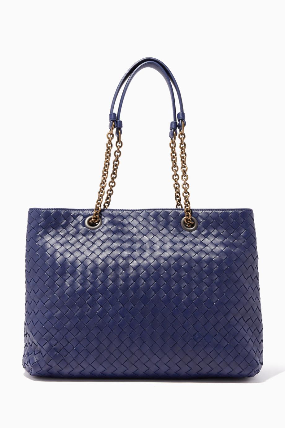 c1ebfb6241cc Shop Bottega Veneta Blue Atlantic Intrecciato Nappa Tote Bag for Women