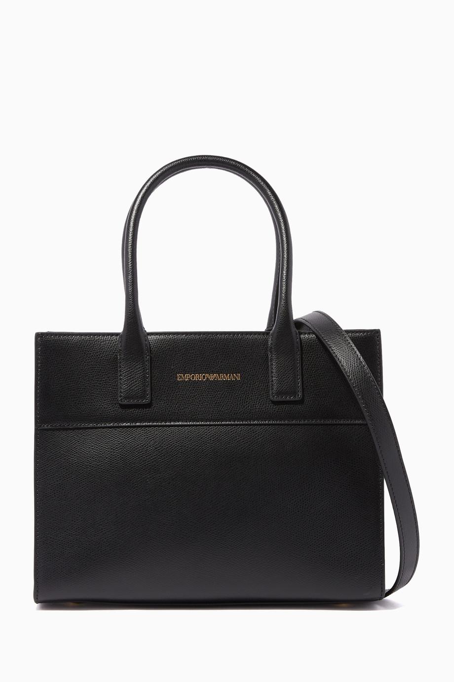 eb47bad77 تسوق Black Structured Shopper Bag امبوريو ارماني أسود للنساء   اُناس