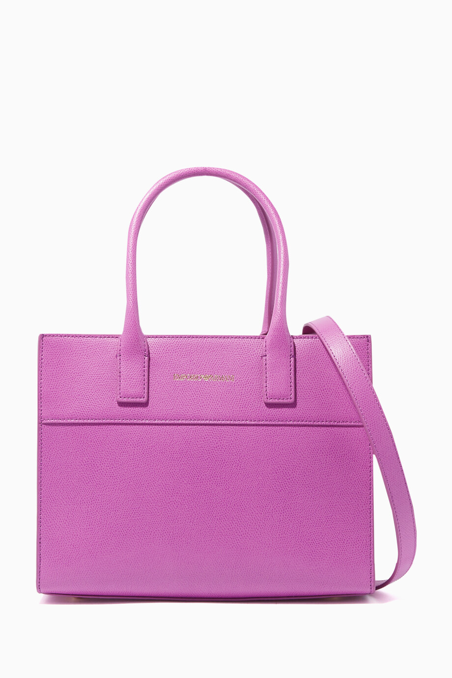 Shop Emporio Armani Pink Violet Structured Shopper Bag for Women ... dfb2cfa608b97