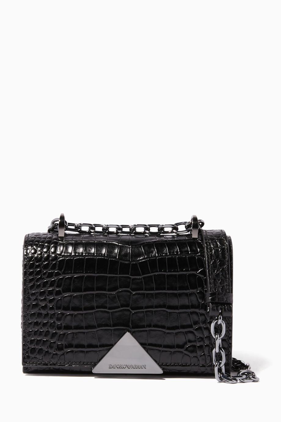 6d5df11cf3 Emporio Armani Black Crocodile-Embossed Crossbody Bag 2300 SAR