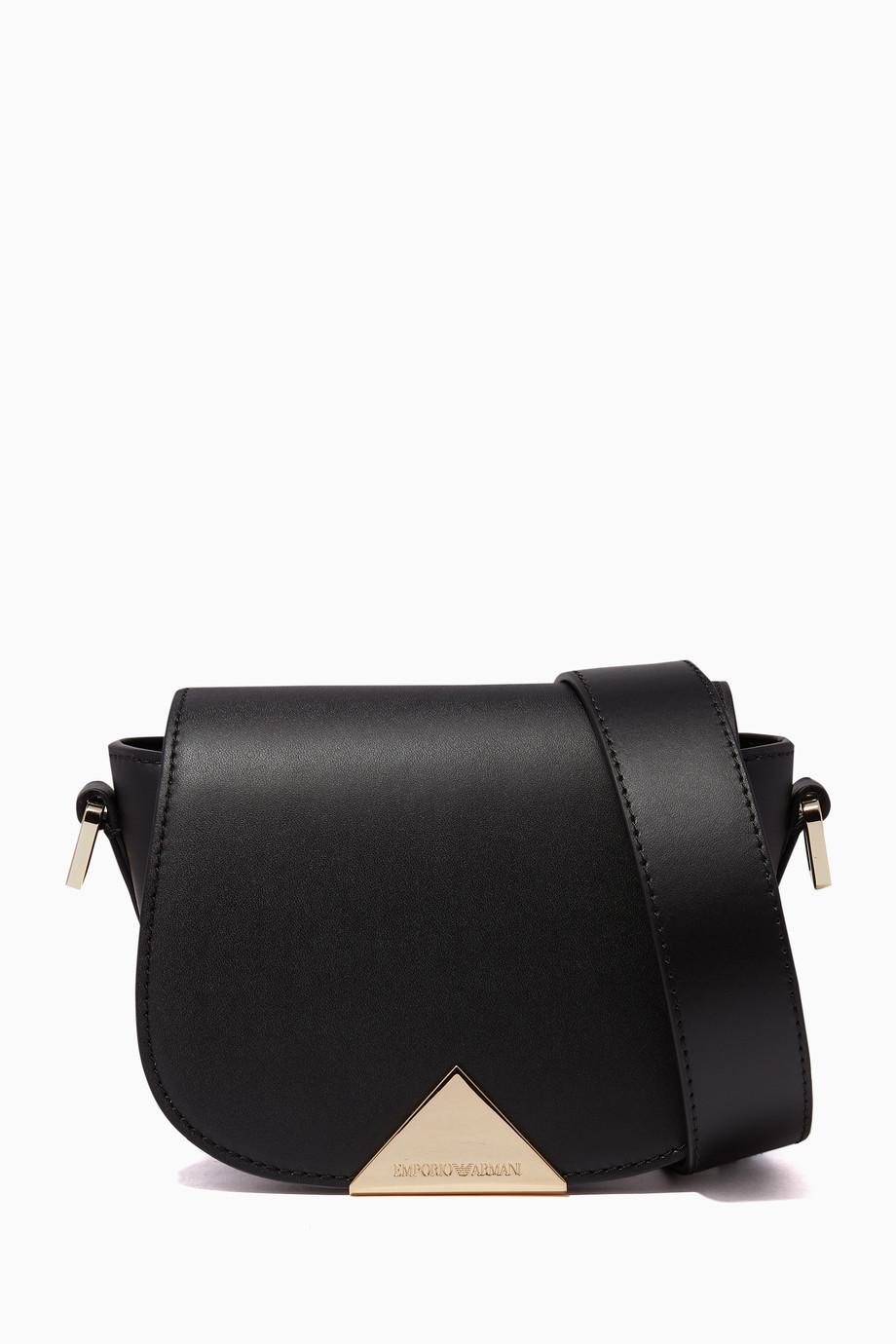 bd173b9592 Shop Emporio Armani Black Small Peggy Cross-Body Bag for Women ...