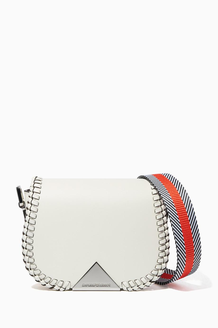 b83993c95c Shop Emporio Armani White Peggy Embroidered Cross Body Bag for Women ...