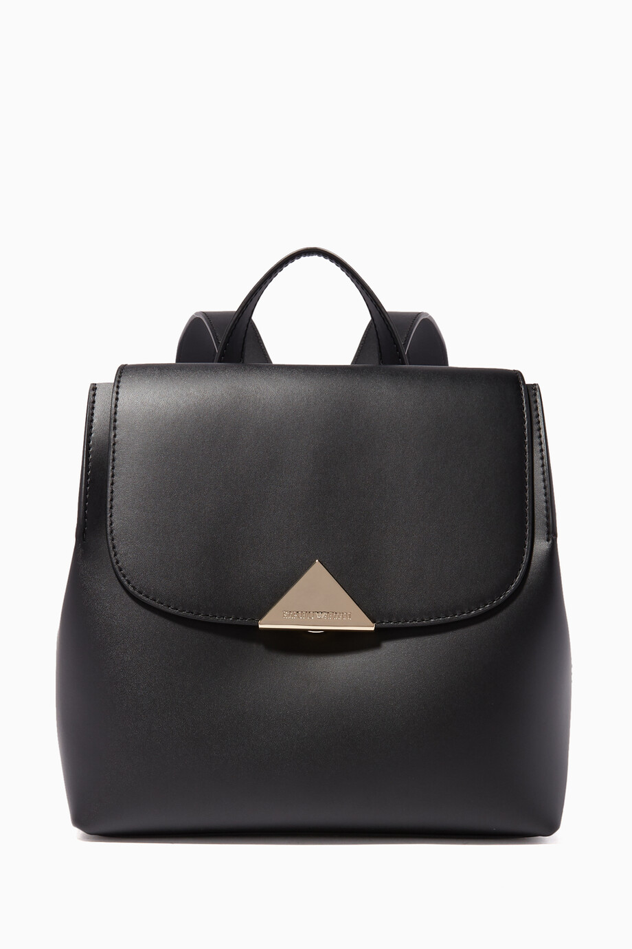 093917230b Shop Emporio Armani Black Smooth Leather Peggy Backpack for Women ...
