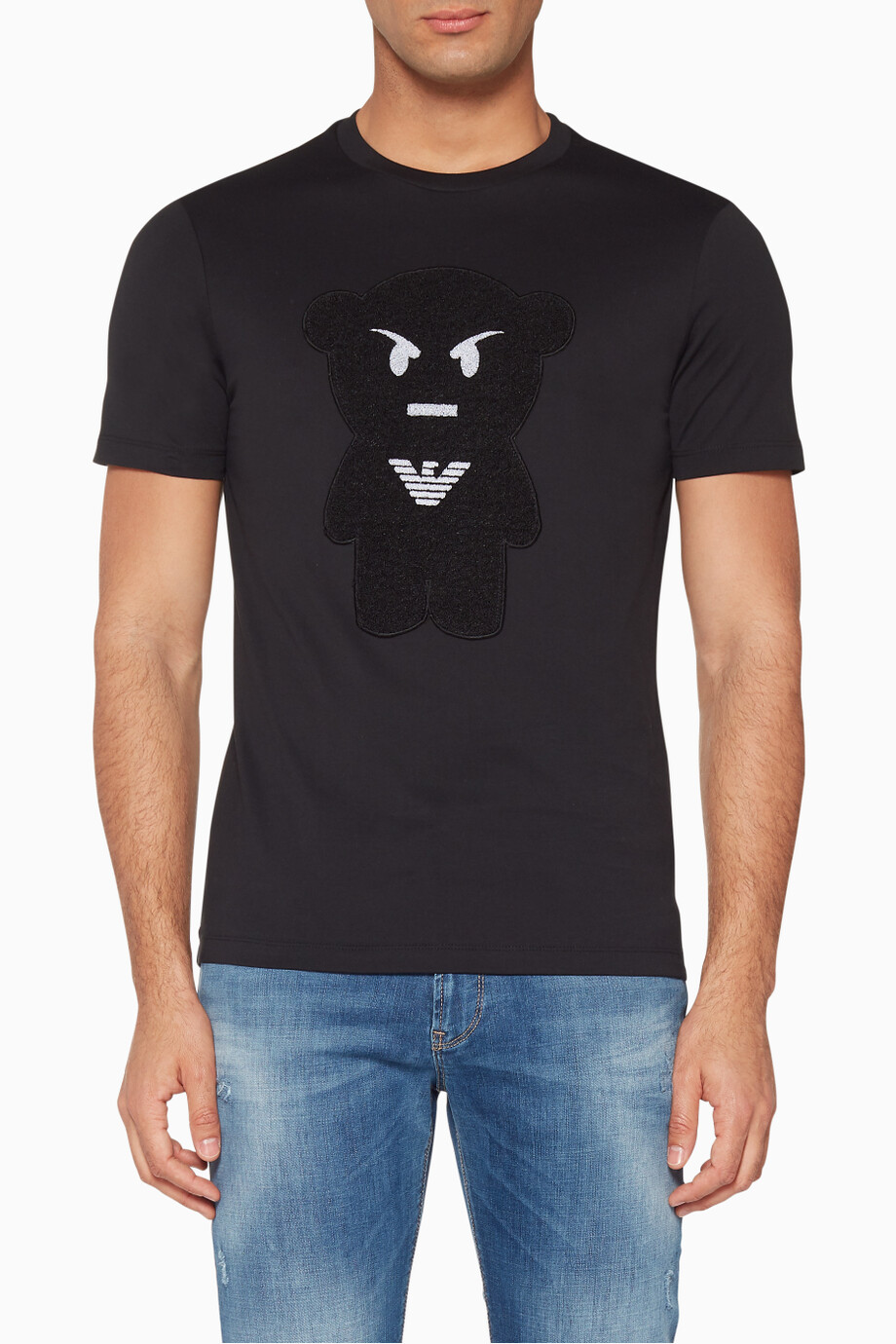 abffc5daf2 Shop Emporio Armani Black Black Manga Bear T-Shirt for Men | Ounass ...