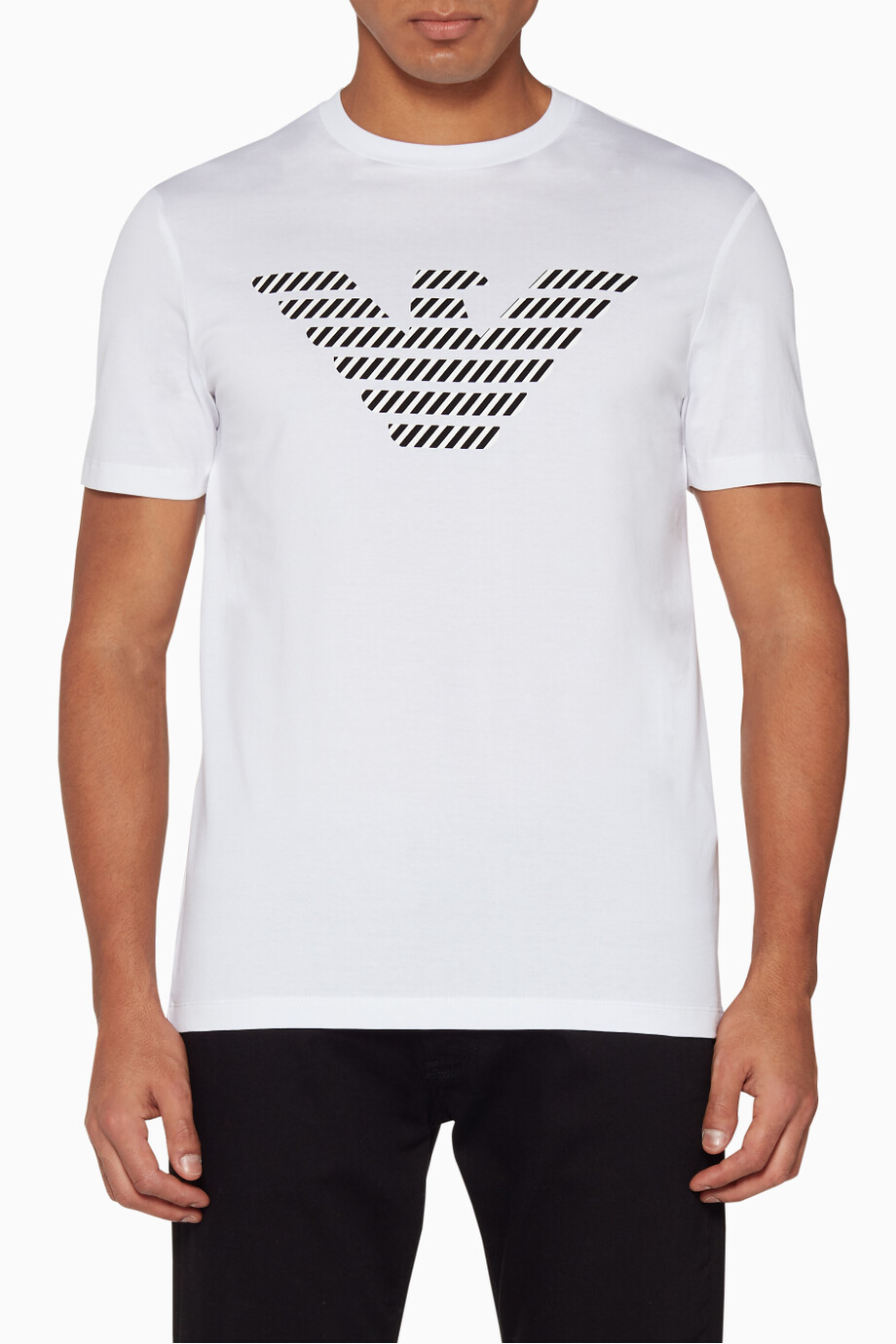294e228675 Shop Emporio Armani White White Eagle Motif T-Shirt for Men | Ounass ...