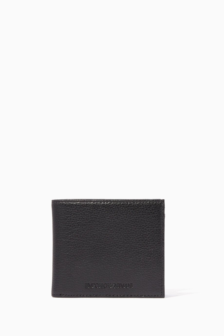 6365f7c4ba Shop Emporio Armani Black Embossed Logo Grained Leather Wallet for ...