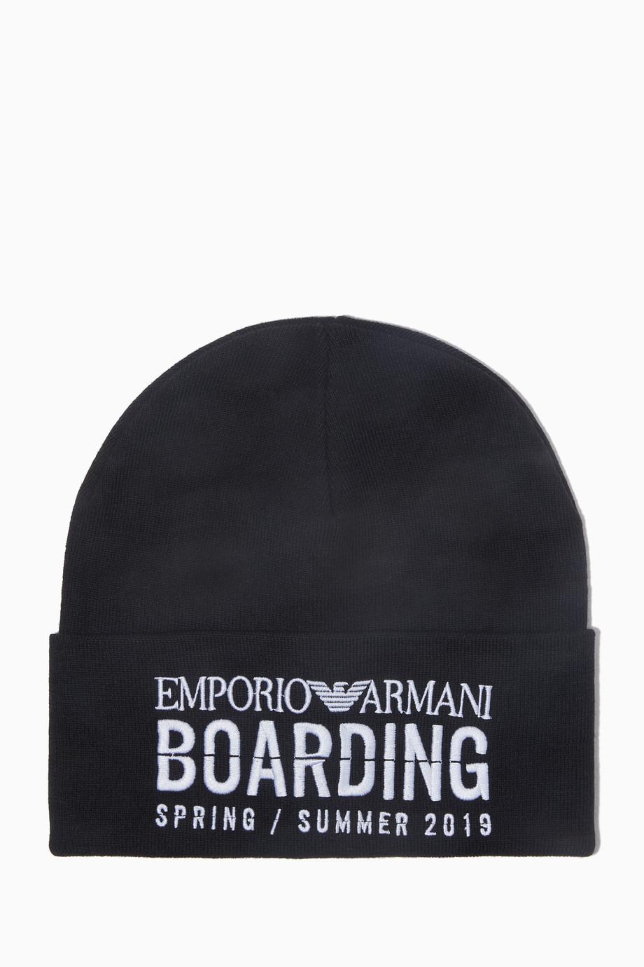 8b65951d191 Shop Emporio Armani Black Black Boarding Logo Beanie Hat for Men ...