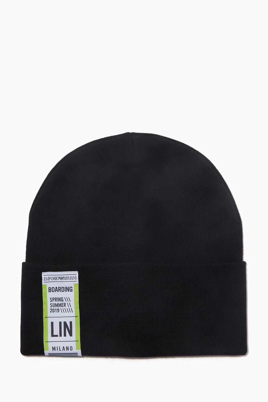 3611c27c0b4 Shop Emporio Armani Black Black Baggage Tag Beanie Hat for Men ...
