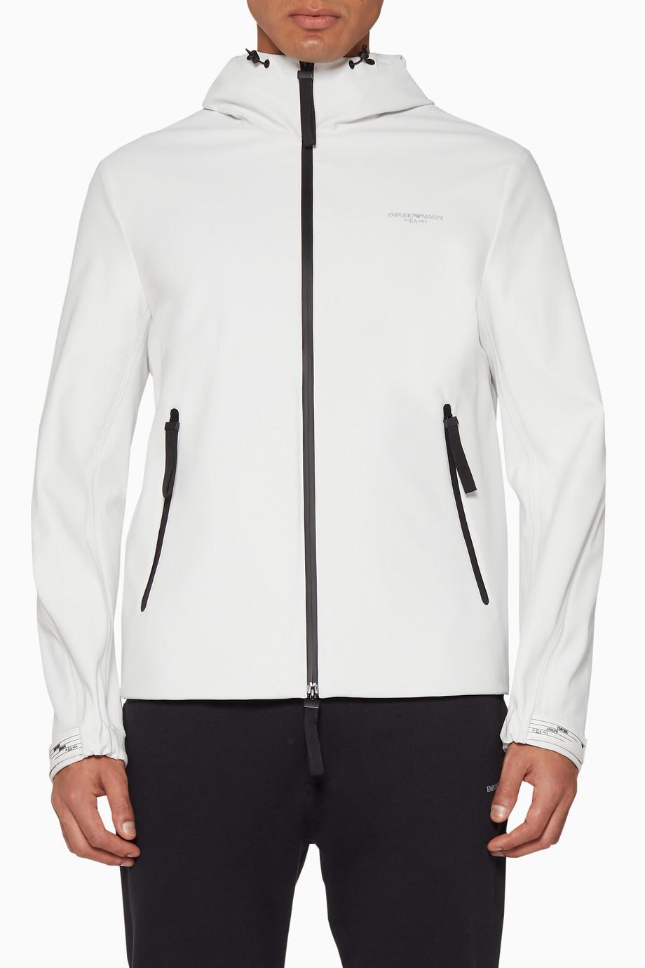 9d0162d4 Shop Emporio Armani Neutral Off-White Technical Logo Hoodie for Men ...