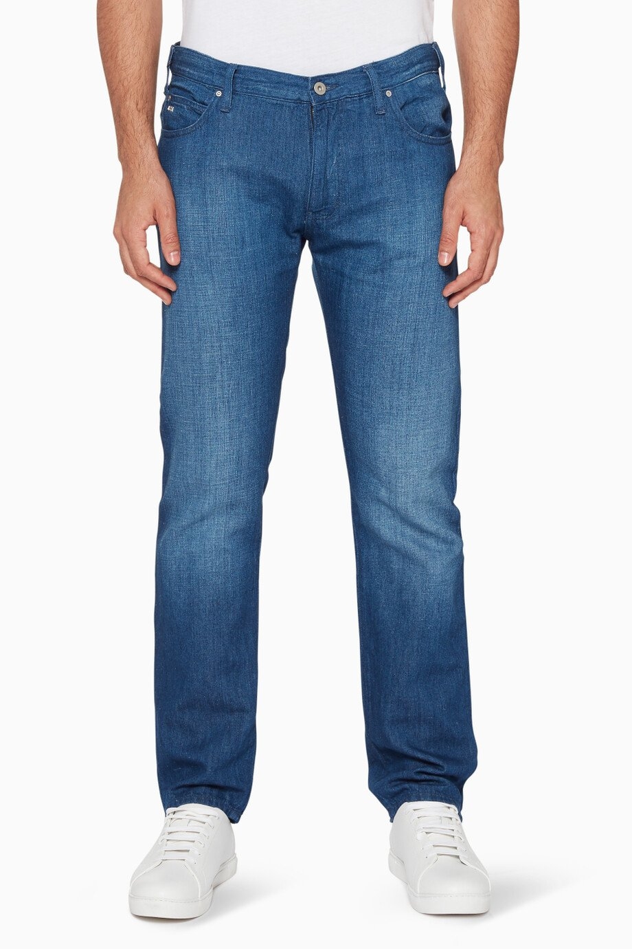 de12c494 Shop Emporio Armani Blue Blue Regular-Fit Medium Wash Jeans for Men ...