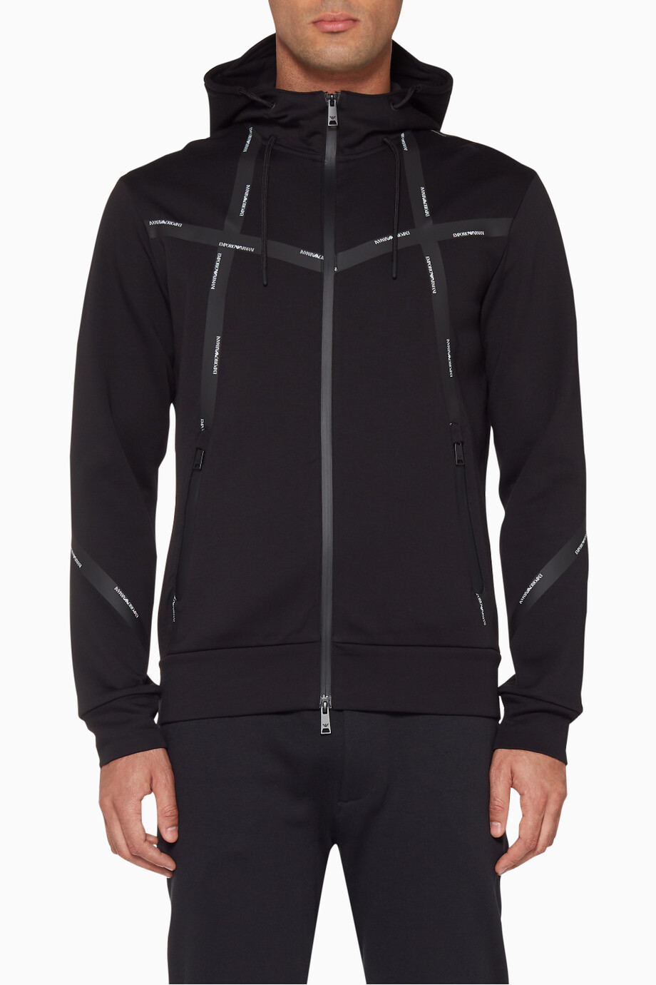 ff855c1220 Shop Emporio Armani Black Black Logo Tape Jacket for Men | Ounass Kuwait