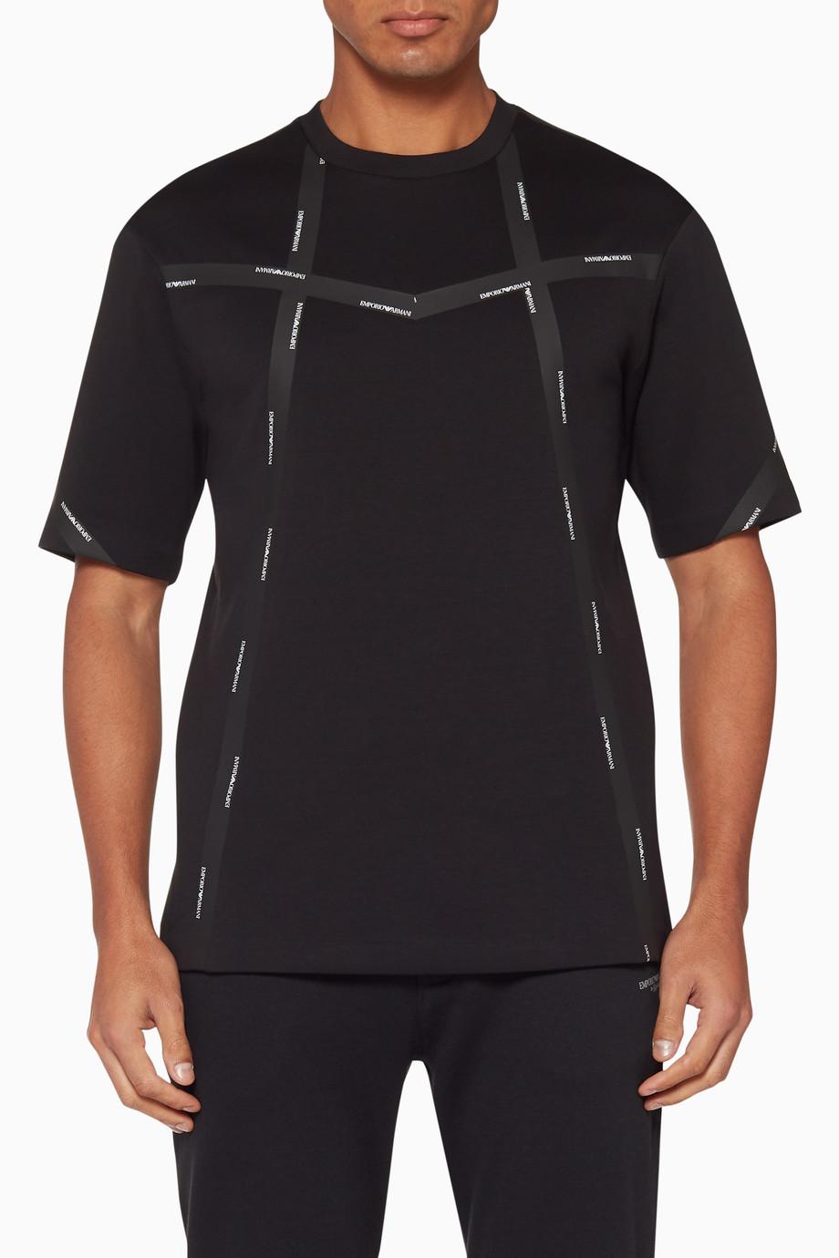 648236c03d Shop Emporio Armani Black Logo Tape T-Shirt for Men | Ounass Bahrain