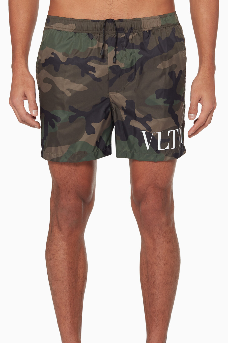 5769e7fefd Shop Valentino Green Dark Green VLTN Camouflage Swim Shorts for Men ...