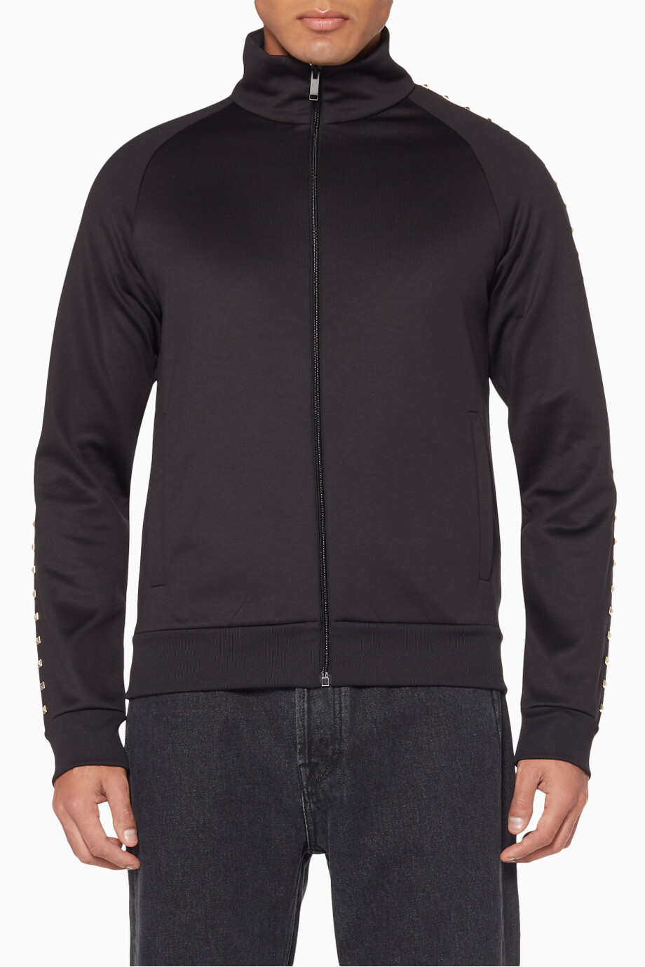 98b0917fa Shop Valentino Black Black Zip Funnel Neck Sweatshirt for Men ...