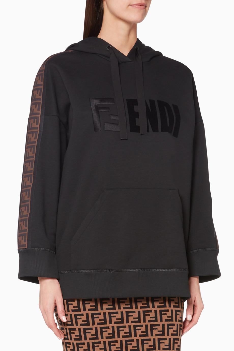701e33fde867 Shop Fendi Black Black FF-Trim Logo Hoodie for Women