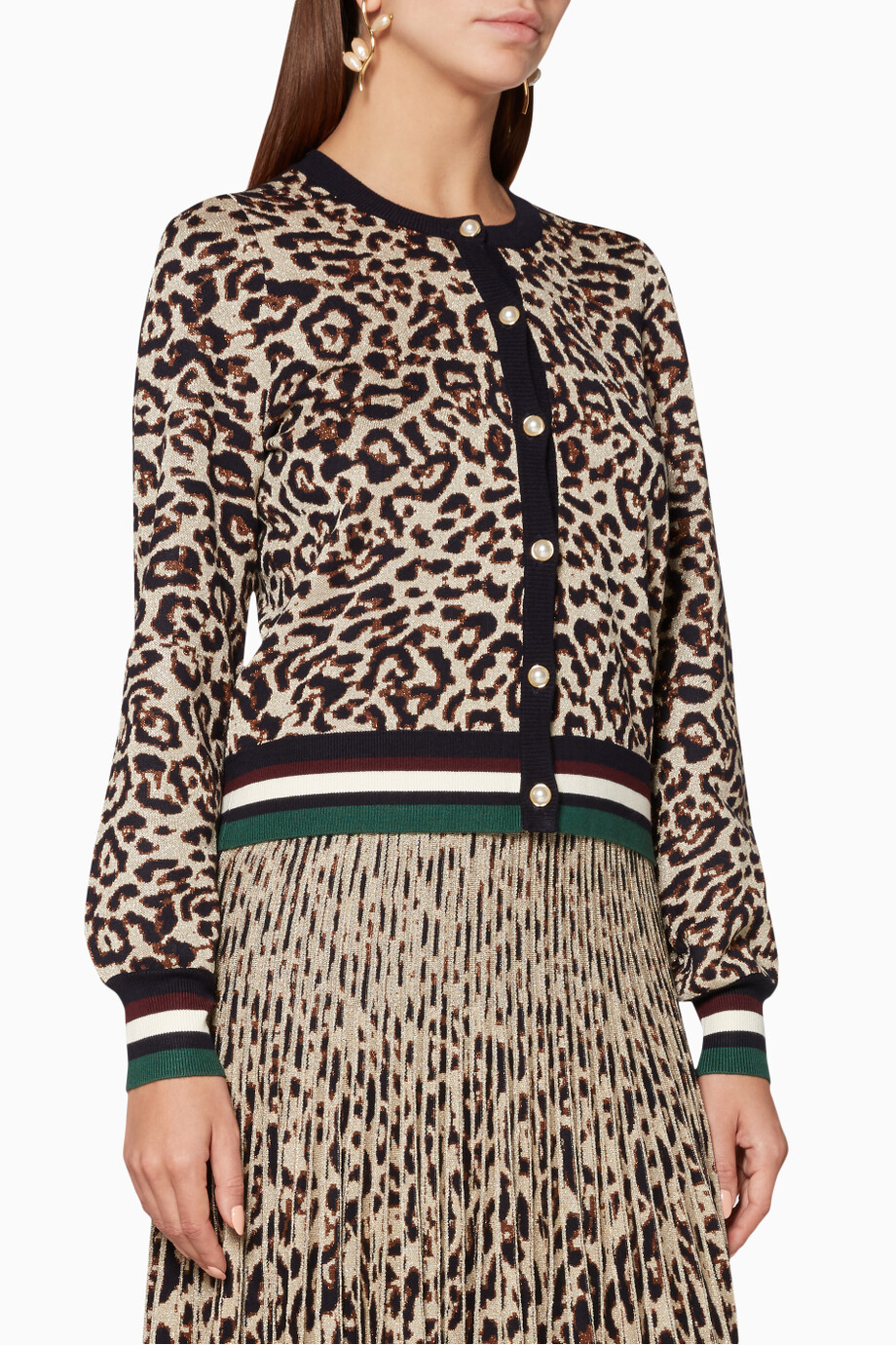 0849a15868 Shop Baum & Pferdgarten Brown Bown Leopard Knitted Calendre Cardigan for  Women | Ounass