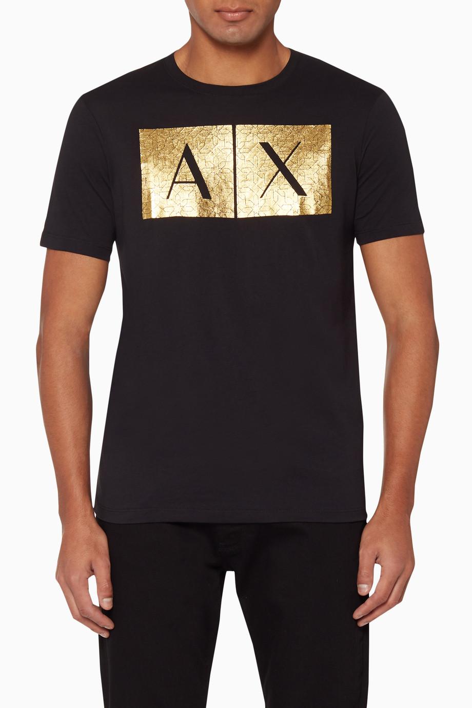 03514171 Shop Armani Exchange Gold Logo-Print Cotton T-Shirt for Men   Ounass