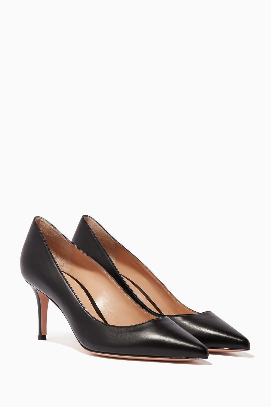 9548c33b Shop Gianvito Rossi Black Black Nappa Point-Toe Pumps for Women | Ounass