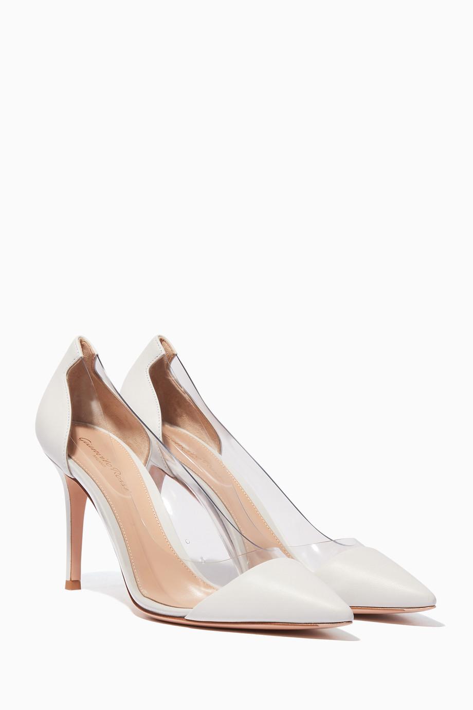 9e712eba6746c Shop Gianvito Rossi White White Nappa Plexi Pumps for Women | Ounass ...