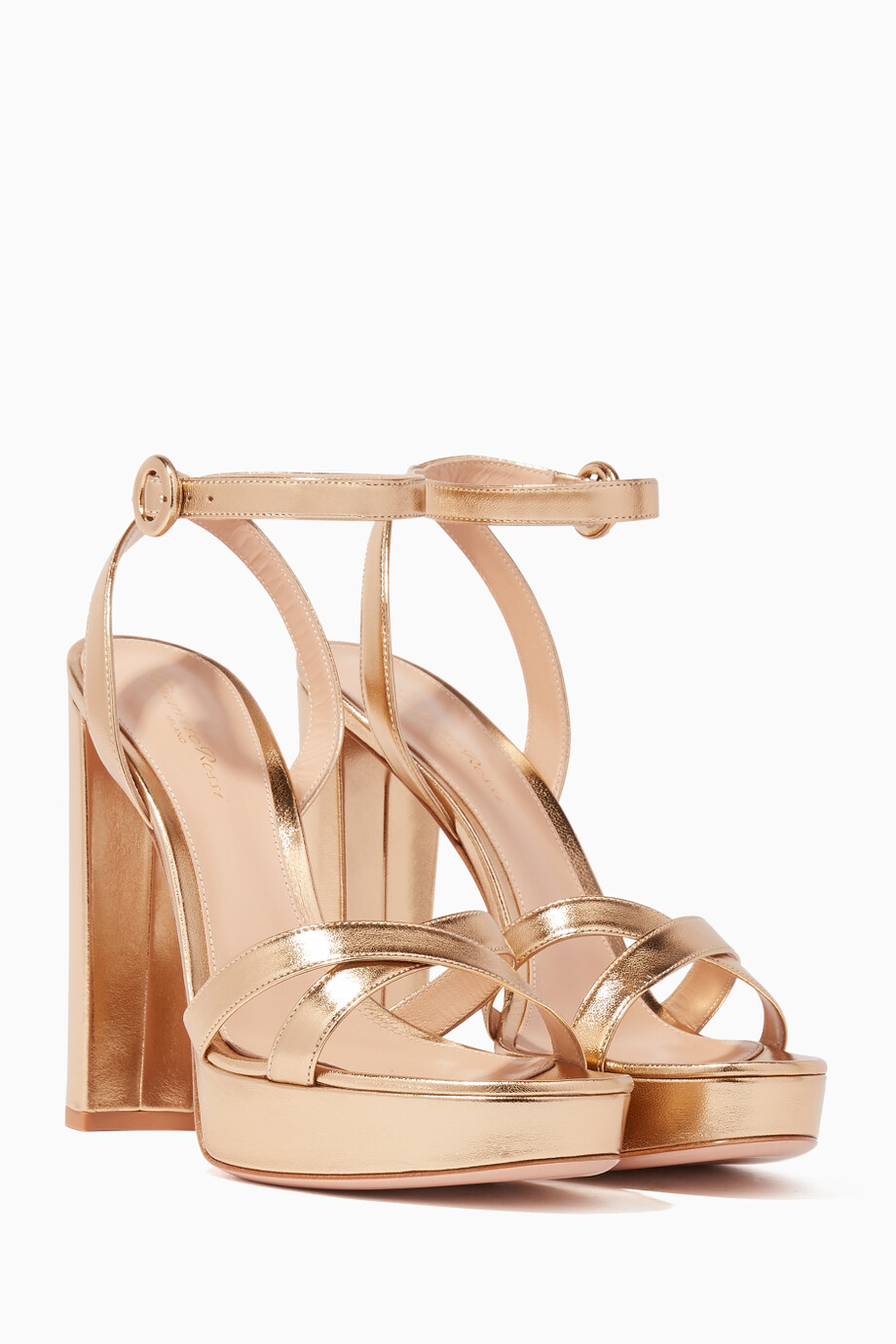 363b2f7963 Shop Gianvito Rossi Gold Gold Nappa Poppy Platform Sandals for Women ...